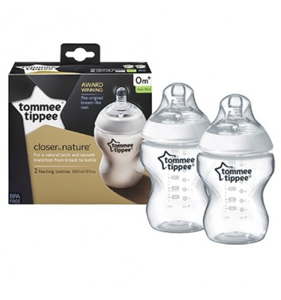 Closer To Nature Feeding Bottles 260ml Twin Pack