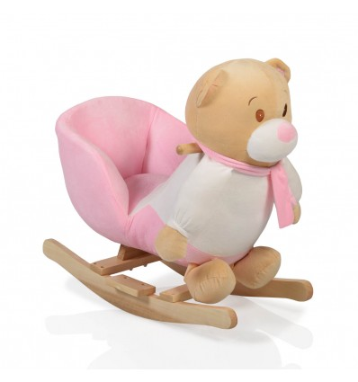Plush rocking animal Bear Pink