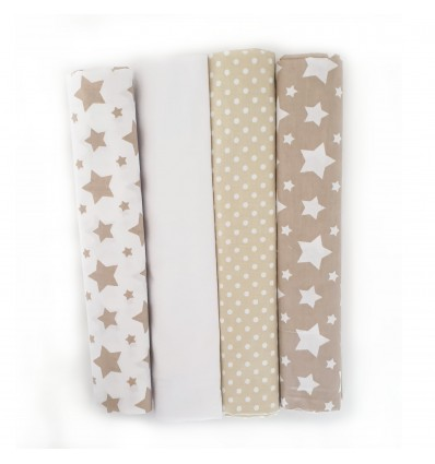 mk Collection Bedside Crib Sheets x 4 Beige/Brown